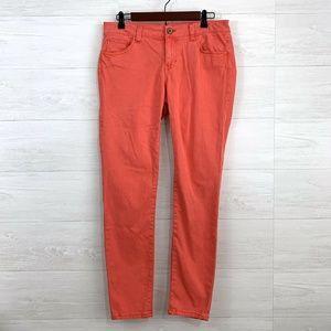 Cabi Coral Orange Pigment Soft Wash Skinny Pant